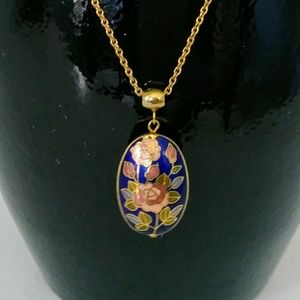 Cloisonne Rose Necklace
